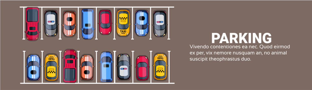 Parking Space Top View With Set Of Colorful Cars, Park Zone Horizontal Banner With Copy Space Flat Vector Illustration