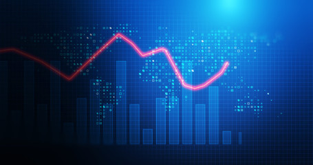 stock market chart data screen on technology background