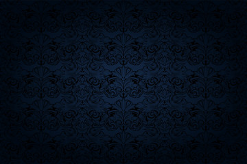 vintage Gothic background in dark blue and black with a classic Baroque pattern, Rococo Wall mural