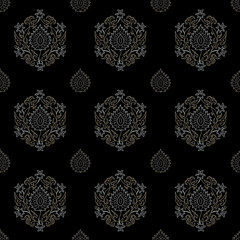 Seamless oriental floral pattern, gold & black.