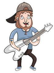 cartoon guitarist with electric guitar, vector illustration