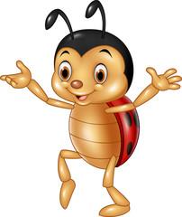 Cartoon happy ladybug isolated on white background