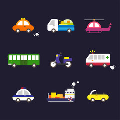 A variety of vehicles. vector flat design illustration set