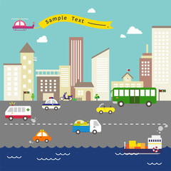 The varied vehicles of the city. vector flat design illustration set