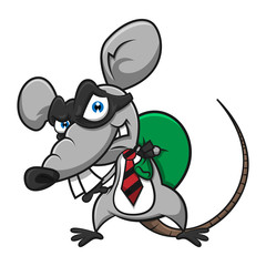 Mouse Using Mask as a Thief, stealing money on the sac cartoon vector