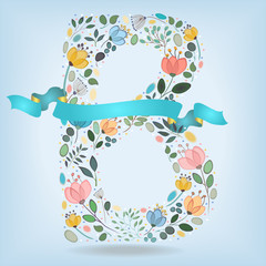 Floral Letter B with blue ribbon
