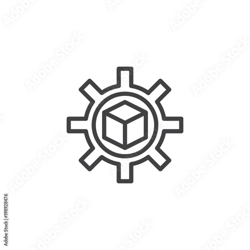 Cube in gear outline icon  linear style sign for mobile