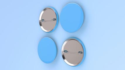Blank blue badge on blue background