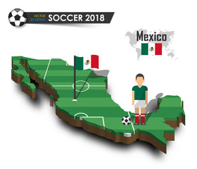 Mexico national soccer team . Football player and flag on 3d design country map . isolated background . Vector for international world championship tournament 2018 concept