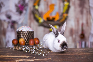 easter food and little rabbit