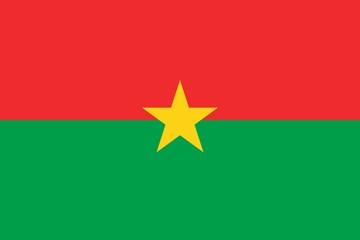 Flag of Burkina Faso official colors and proportions, vector image.