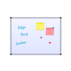 White educational magnetic board, with magnets, stickers, inscriptions, educational institution.