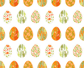 Seamless pattern with easter eggs in orange color. Pattern for holiday easter wallpaper or textile, gift wrapping