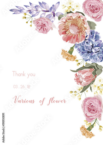 vector floral banner greeting card with various flower invitation