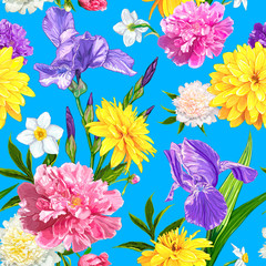Seamless pattern with Peonies, Iris, Narcissus and Rudbeckia flowers on a blue background. Hand drawn sketch. Template for floral textile design, paper, wallpaper, web. Spring and summer composition