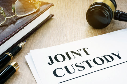 Joint custody and gavel in a court.