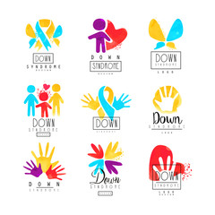 Set of abstract emblems with ribbons, humans and hands. Logos for medical centers. For invitation, charitable fund or postcard for Autism Awareness Day