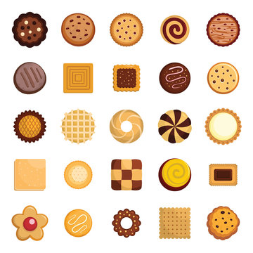 Cookies biscuit icons set. Flat illustration of 25 cookies biscuit vector icons for web
