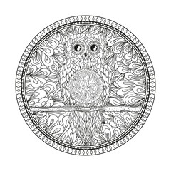 Circle mandala with owl. Zentangle. Hand drawn abstract patterns on isolation background. Design for spiritual relaxation for adults. Zendala. Outline for tattoo, printing on t-shirt, poster. Zen art