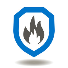 Shield Fire Flames Icon Vector. Firewall Fire Wall Illustration. Data Security and Protection Logo. Safety Internet Network Symbol.