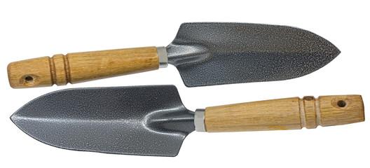 Garden shovels isolated on white