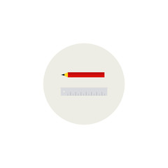 Pencil with ruler. Isolated vector illustration.