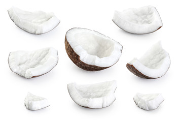 Coconut pieces isolated on a white background.