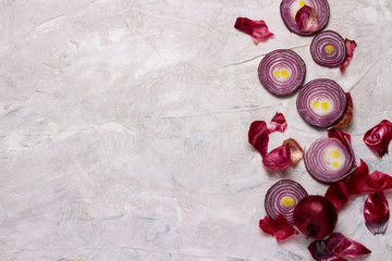 Rings and slices of red onion on a light background. Cooking Concept