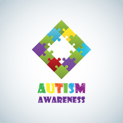 World autism awareness day with colorful puzzle