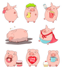 Collection of cute pigs