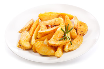 plate of roasted potatoes with rosemary