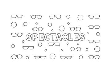 Spectacles horizontal linear illustration. Vector modern banner