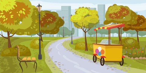 City park, trees, path leading to the city, bench, stall with ice cream, in the background city houses, vector, cartoon style, illustration, isolated
