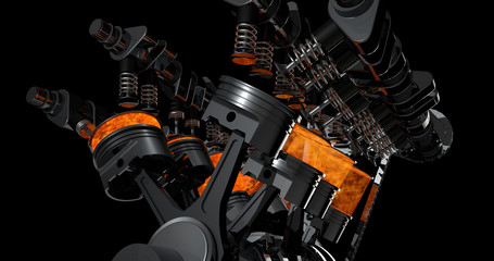 3d model of a working V8 engine with explosions. Pistons and other mechanical parts are in motion.