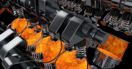 CG model of a working V8 engine with explosions. Pistons and other mechanical parts are in motion.