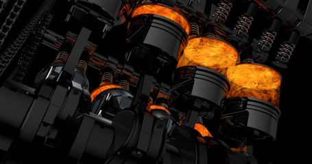 CG model of a working V8 engine with explosions. Pistons and other mechanical parts are in motion. Fototapete