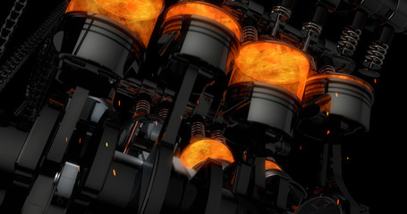 CG model of a working V8 engine with explosions and sparks. Pistons and other mechanical parts are in motion. Fototapete