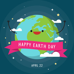 Happy Earth Day Vector illustration. Cute Earth with ribbon banner on space background.