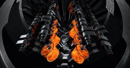 CG model of a working V8 engine with explosions and sparks inside of another machine. Pistons and other mechanical parts are in motion.