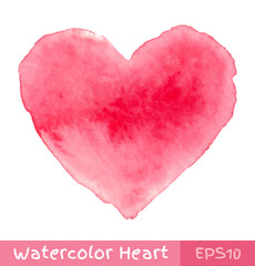 Pink Watercolor Heart. Vector illustration.