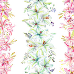 Seamless pattern with colorful lilies flower on white background. Watercolor set of blooming floral for wedding invitations and greeting card design