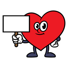 Cartoon Heart Character Holding Sign