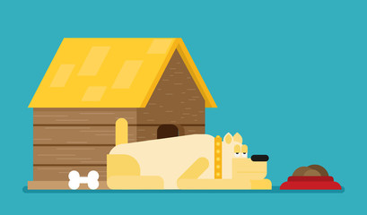 Doghouse flat vector