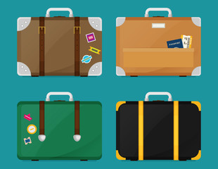 Luggage set. Vector illustration of flat colorful