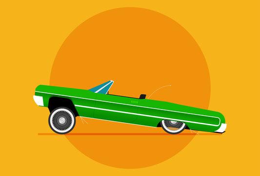 Flat vector lowrider car icon