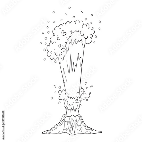 Vector sketch illustration of an object of nature outline hand vector sketch illustration of an object of nature outline hand drawing element of a volcano maxwellsz