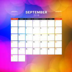 September 2018. Calendar planner design template with abstract background. Week starts on Sunday