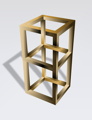 Impossible cube optical illusion. Irrational cube an impossible object. Viewed from a certain angle, this cube appears to defy the laws of geometry. Illustration.