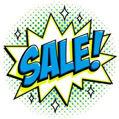 Comics style sale tag. Blue sale web banner. Pop art comic sale discount promotion banner. Big sale background. Comics pop-art style bang shape on halftone background.