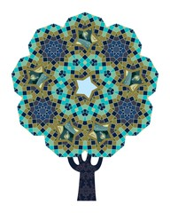 A tree with ornamental trunk and a crown in the shape of a quasicrystal  is a symbol of the Tree of Life.  Mosaic, stars, moon, planets as elements of the mandala. Sacred geometry.  Vector design.
